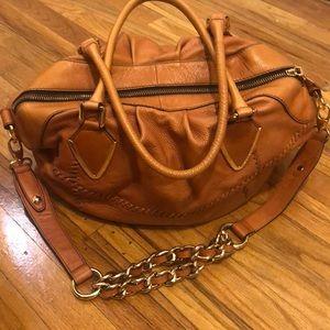 Cognac colored bowling handbag soft leather